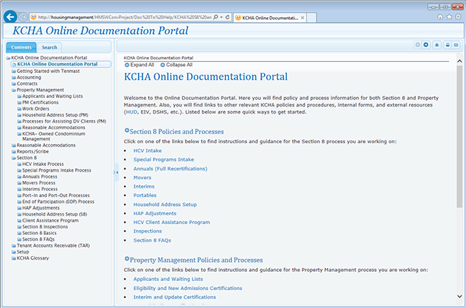Screenshot of KHCA documentation Table of Contents